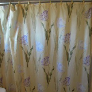 Yellow shower curtain with purple parrot tulips